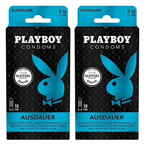 Playboy Condoms Kondome Ausdauer, Verhütungsmittel, 3-fach Effekt, mit Gleitgel gratis, 52 mm, 2 x 10 Stück