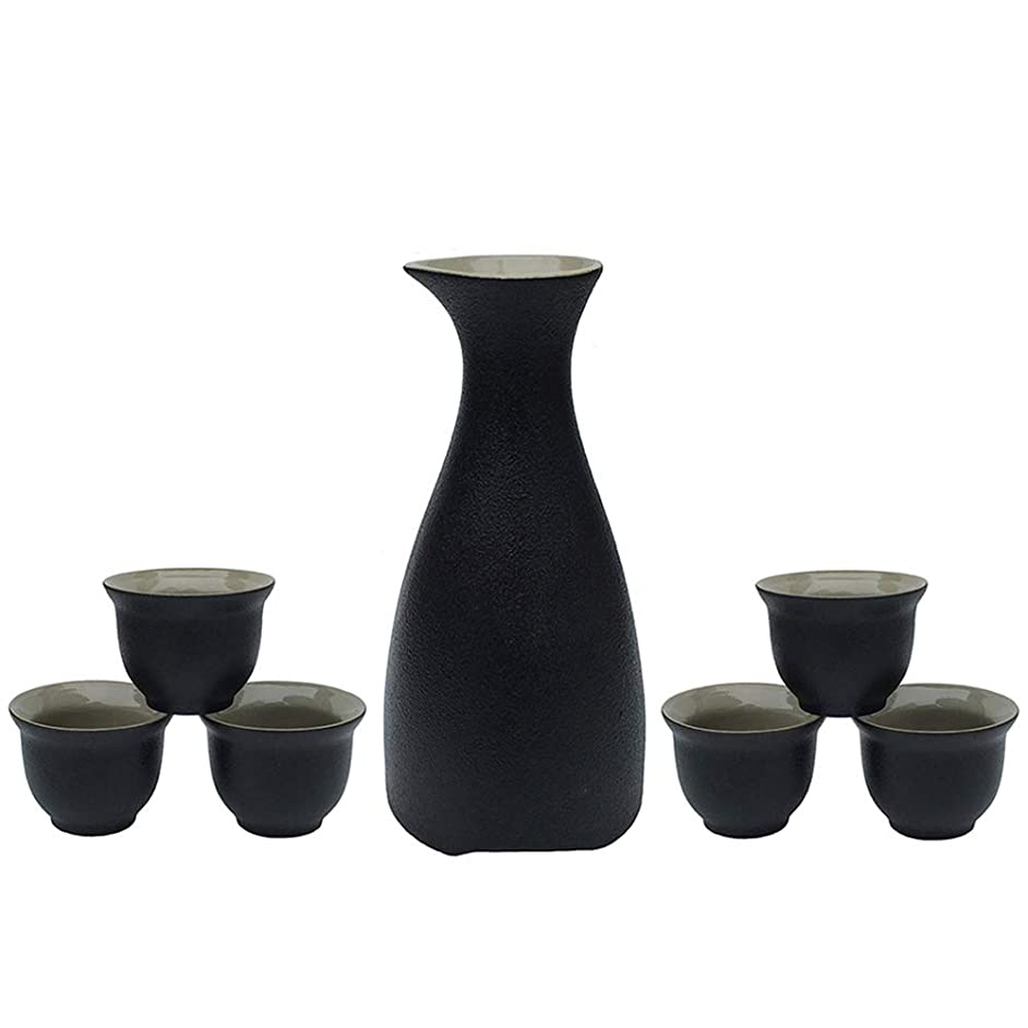 Ceramic Sake Set, KBNI Original Black Pottery Japanese Saki Set including 1pc Sake Pot and 6pcs Sake Cups (7-Piece Black)