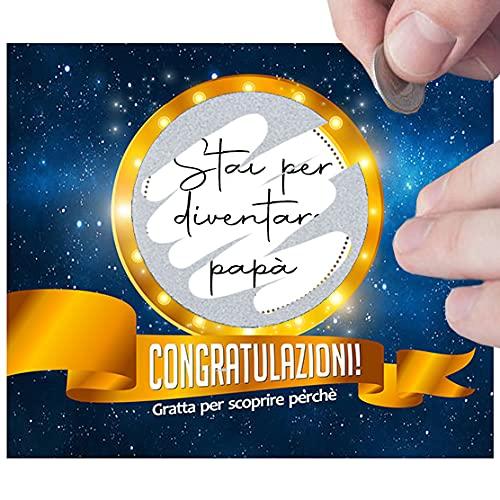 Biglietti Gratta e Vinci Originali Personalizzati per Auguri, Sorpresa, Scherzo. Compleanno Laurea Maturità, Annuncio Gravidanza Padre Nonni Zia, Testimone Nozze, Gioco a Premi Festa Sconto Omaggio