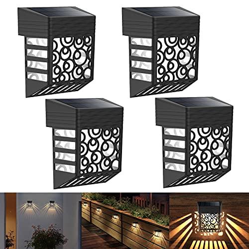 Fortand Luce Solare LED Esterno, 4 Pezzi Luci Solari Esterno Giardino IP54 Impermeabile LED Lampada Solare con Sensore di Luce, Luci Esterno Energia Solare per Giardino Terrazza Scale Cortile