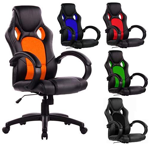 SPS-Racing Exclusiver Racing Bürostuhl Chefsessel Drehstuhl Schreibtischstuhl Gaming Office Chair (schwarz/orange)