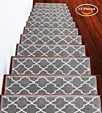 Stair Treads Trellisville Collection Contemporary, Cozy, Vibrant and Soft Stair Treads | Gray & White, 9' x 28' | Pack of 13 [100% Polypropylene] | Tape Applied