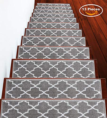 Stair Treads Trellisville Collection Contemporary, Cozy, Vibrant and Soft Stair Treads | Gray & White, 9