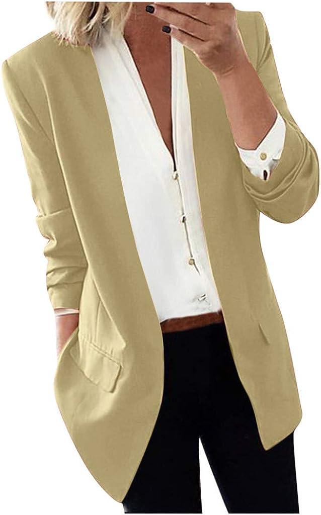 Women Lapel Light Long Coat Blazers Ladies Casual Office Jacket Suit Outwear