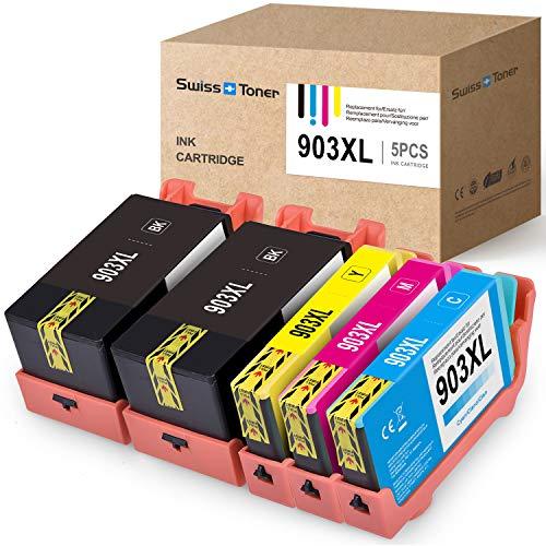 SWISS TONER Último Chip Compatible para HP 903XL Cartuchos de Tinta Compatible para HP OfficeJet Pro 6950 6970 6960 6860 6868 6975 6978 Impresora (2Negro/Cian/Magenta/Amarillo)
