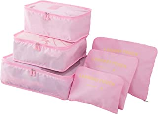 Travel Luggage Packing Cubes Storage Organizer 6 Set Space Saver Candy Color Bags (Pink)