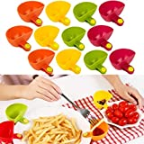 12 PC Plastic Sauce Dishes, Dip Clips for Plates, Sauce Holder for Car, Cookie Dipper for Milk Saucemoto Dip Clip, Plastic Dish for Tomato Sauce Salt Vinegar Sugar Flavor Spices