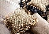 El cojín Cuadrado de Rafia - Negro Natural - L