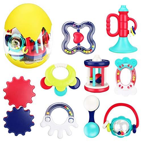 Laelr Baby Beißspielzeug Set, 9 Stück Sensorische Beißringe Spielzeug Natürlicher Bio-Gefrierschrank BPA Free Beißring Spielzeug Spielzeug Silikonzahn Schnuller