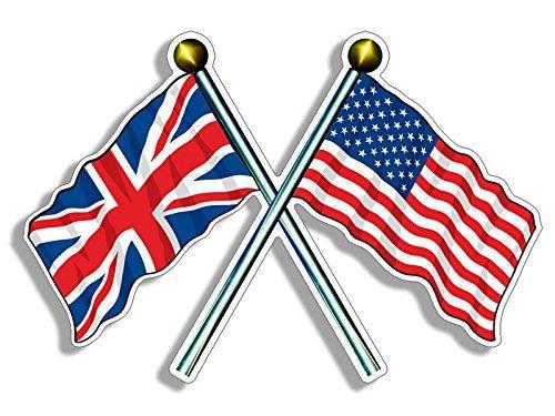 Crossed Poles USA & UK Union Jack Waving Flags Sticker (american british)