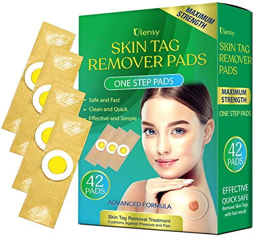 Ulensy 42pcs Skin Tag Remover Pads, Fast-Acting, Comfortable Skin Tag Removal Treatment, Easy to Stick Effective Skin Tag Remover Patches, for All Skin Types