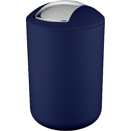 WENKO Petite poubelle salle de bain, poubelle à couvercle basculant Brasil L, 6.5L, bleu, Ø 19,5 x 31 cm