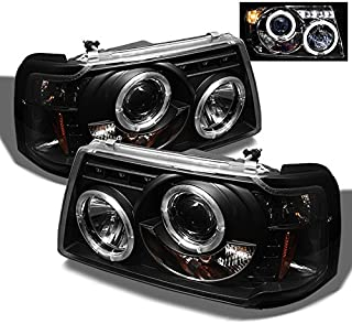 For 2001-2012 Ford Ranger Pickup 2 in 1 Black Bezel Dual Halo Ring Projector Headlights w/Corner Signal Lamps