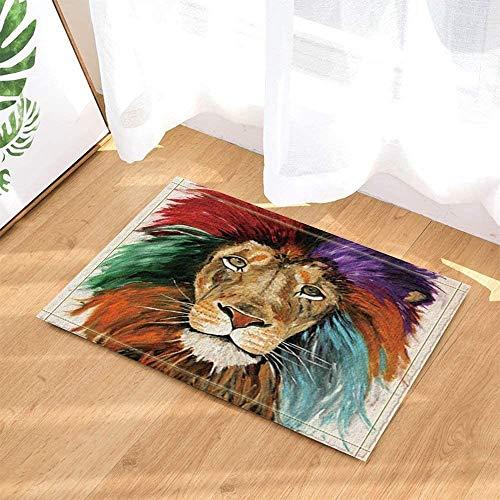 SRJ2018 Alfombra de león,Hermosa Cabeza de león de Pelo Colorido,cojín de Franela Suave y Duradero Antideslizante en el baño