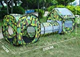3 Piece Army Camouflage Kids Pop Up Adventure Play Tent House & Tube Tunnel (Length: 240cm)