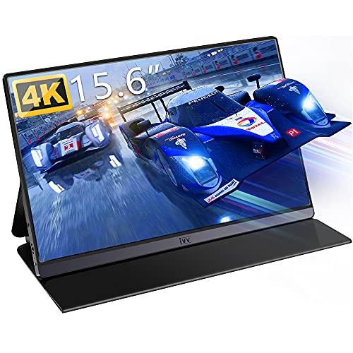 Monitor Portátil 4K, IVV 15.6 Pulgadas Pantalla Portátil para Juegos UHD 3840x2160 IPS Screen, con USB Tipo C/Mini HD para Raspberry Pi, PS3 PS4 PS5, Xbox, Ordenador, Laptop, Teléfonos (Negro)