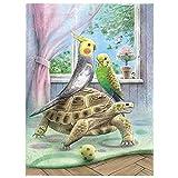 Reiichi Turtle Parrot Diy Diamond Pintor Accesorios De Pintura De Squareround Full Squareround Driller Animal 5d Mosaico Bordado Rhinestone Decoración De La Pared 16x24inch NoFramed