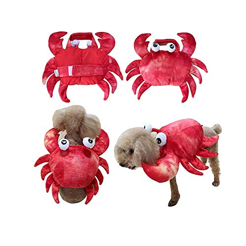 Dog Crab Costume Pet Halloween Cosplay Dress Cute Pet Holiday Halloween Cosplay Clothes Two-Legged Costume for Small Medium Dogs Funny Dog Halloween Costume for Christmas Cosplay Party