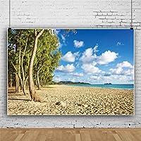 Qinunipoto 3.5mx2.5m背景布写真背景布海青い空白い雲木の背景ペット写真背景風景背景スタジオ小道具部屋装飾ビデオライブ背景装飾Youtube背景海シーン背景祭イベントパーティー写真背景
