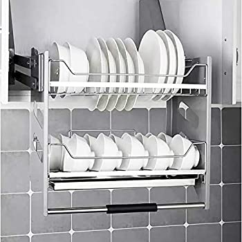 Whifea Pull Down Dish Rack System Kitchen Shelf 2 Tier Upper Cabinet Organizer For Cabinet Width 36 Amazon Sg Home