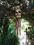 """Mystika Bamboo Wind Chime Pirate Burning Man Skeleton Day of The Dead Voodoo 22"""" Long"""