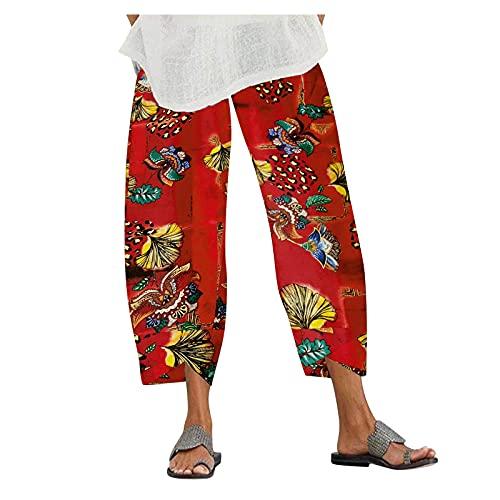 JOFOW Women Harem Pants Lounge Pants Wide Leg Printed Cropped Baggy Trousers Yoga Sweatpants Pajama Bottoms with Pockets (05 Red, M)