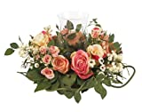 Nearly Natural 4685-AP Mini Rose Candelabrum Silk Flower Arrangement,Assorted Pastel