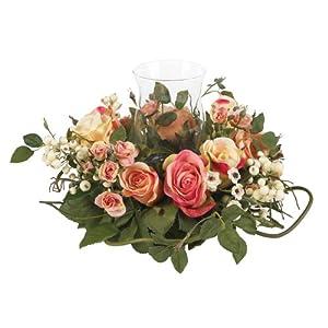 Silk Flower Arrangements Nearly Natural 4685-AP Mini Rose Candelabrum Silk Flower Arrangement,Assorted Pastel