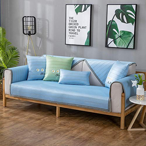 Hybad 4-zits Machine Wasbare Sofa Slipcover, Koele ijszijde sofa slipcover bankhoes, zomer 2/3/4 zits lederen sofa gooien, Stoffen bank sets, hoek sofa cover, zomer mat