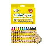 Jumbo Crayons - Juego de 12 lápices de cera para niños a partir de 3 años, fácil de agarrar, grueso y colorido, incluye cuaderno SOL
