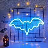 Luz de neón decorativa murciélago en forma de letreros de neón decoración de la pared llevó la luz de la noche para la decoración de la habitación de cumpleaños de los niños azul decoración