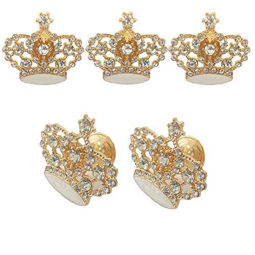 Luluxing - Manopole in vetro dorato a forma di corona per armadietti, cassetti, cassettiere, maniglie a forma di corona in vetro, per cucina, bagno, armadietto, armadio