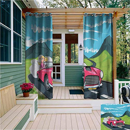 Cars Room Darkening Drape for Balcony Blonde Girl Driving a Sports Car Through The Country in Cartoon Style Travel Road Trip Privacy Protection W108 x L96 Inch Multicolor