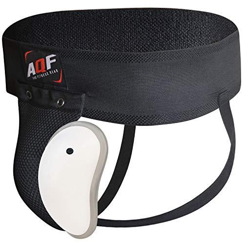 AQF Boxeo Coquilla Protectora para la Ingle con Copa con Gel Elástico Suspensorio Abdominal para MMA Artes Marciales Boxeo Muay Thai Kickboxing (L)