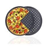 GOODGDN 2pcs moldes para Hornear Pizza, Utensilios para Hornear antiadherentes, Molde para Pizza con Agujeros, Bandeja Profesional para Hornear Pizza de Corteza crujiente Redonda de 32 cm