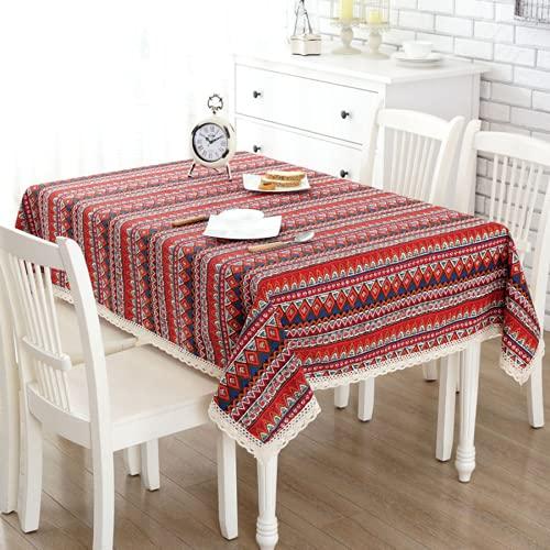 KUATAO Mantel rectangular de algodón y lino, con borlas, de lino, rectangular, lavable, para cena, picnic, bohemio, 110 x 160 cm