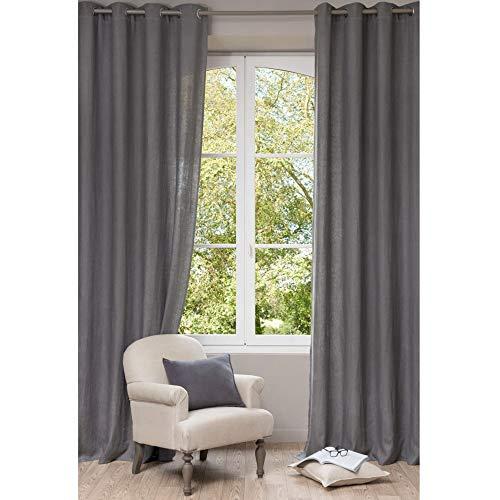 eurostyle Cortina Iris gris transparente con ojales de aluminio suave para dormitorio y salón, 140 x 280 cm, 1 panel