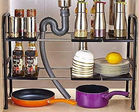 Estante extensible para debajo del fregadero de acero inoxidable Hilier negro organizador de cocina ajustable
