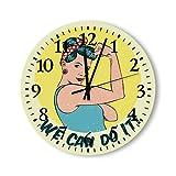 DKISEE Reloj de pared redondo de madera para dormitorio, sala de estar o casa, silencioso, no hace tictac, con mecanismo de cuarzo, con texto en inglés 'We Can Do It!'