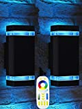 Bling Mi.Light RF Remote Control RGB Colour Changing Lighting LED Double Up and Down Outdoor Wall Light 12W 1200LM,White Temperature 2700k- 6500k RGB+CCT Exterior Wall Lighting (2 Pack)