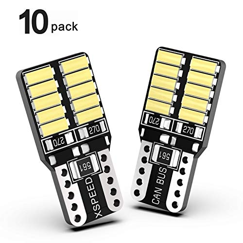 XSPEED 194 LED Light Bulb Error Free 800Lm Extremely Bright 20-SMD 4014-Chips 168 2825 T10 LED Bulbs For Car Interior Map Dome Side Marker Lights License Plate Light, Xenon White 6000k Pack of 10PCS