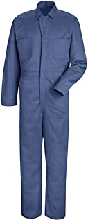 Red Kap Men's Snap Front Cotton Coverall, Oversized Fit, Long Sleeve, Postman Blue, 42