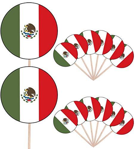 Mexiko-Flagge Party Essen Kuchen Cupcakes Picks Sticks Flags Stand Up Dekorationen Topper (14 Stück)