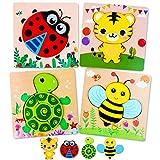 Lenbest 4 Piezas Puzzles de Madera de Animales, Juegos de Rompecabezas de...