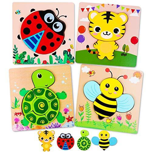 lenbest Giocattoli Bambini, 4 Pezzi Animali Puzzle in Legno Set Giochi Bambino Montessori Educativi Gioco Blocchi di Modello Regalo per 1 2 3 Anni Bambini Ragazza Ragazzo - (2 Pezzi in Omaggio)