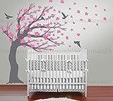 happygoluck1y Fleurs Rose Sticker Mural Motif Arbre avec Oiseaux pour Enfant ado...