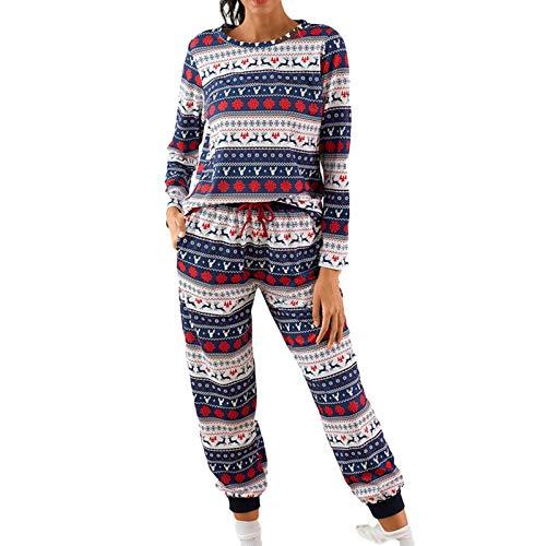 Conjunto de pijamas para mujer, para el tiempo libre, informal, de dos piezas, pantalones con bolsillos, suéter, pantalones largos, conjunto informal azul M
