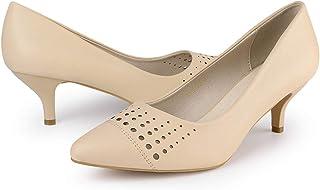Allegra K Women's Cut Out Pointed Toe Kitten Heel Dress Pumps
