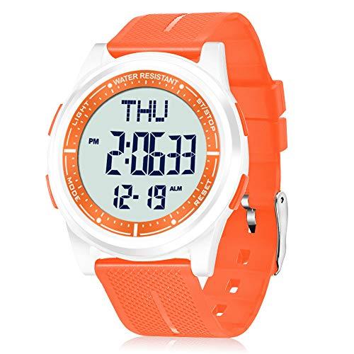 WIFORT Reloj Digital Mujer, 5ATM Impermeable Deportivo Relojes de Pulsera Esfera Grande con Cronómetro, Cuenta Regresiva, Alarma, Tiempo Dividido, Zone Horaria Dual, Ultra Delgado, Naranja