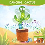 Benolls Dancing Cactus Toy,Talking Repeat Singing Sunny Cactus Toy 120 Pcs Songs for Baby 15S Record Your Sound Sing+Repeat+Dancing+Recording+LED